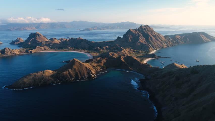 Padar Island at East Nusa Tenggara, Indonesia. Aerial view by drone 4k camera. | Shutterstock HD Video #34906306