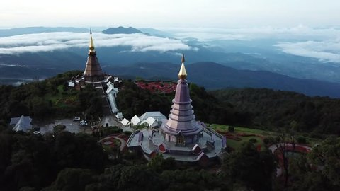 Aerial view Phra Maha Dhatu Naphamethinidon and Naphaphonphumisiri Pagoda at Doi Inthanon national park in Chiang mai, Thailand.
