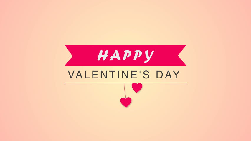 Intro or greeting on Happy Valentines day. Pink ribbon appears, text animation and hearts on the thread fall down. Card for congratulation
