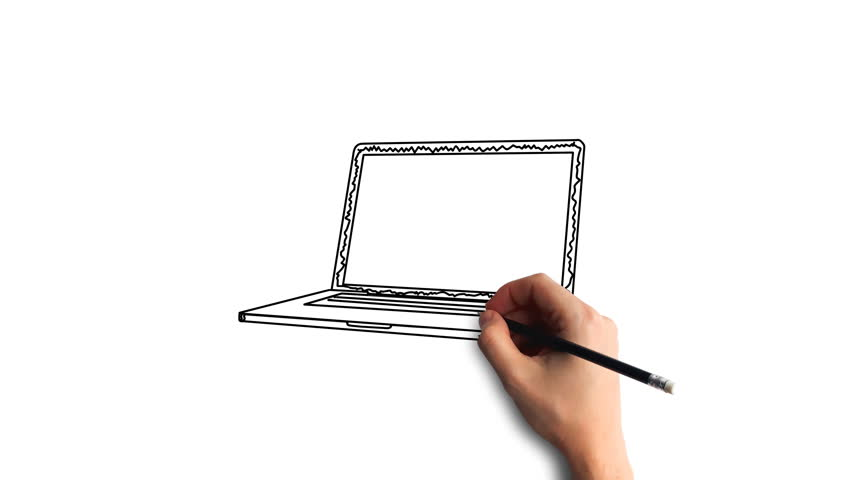 Whiteboard Stop-Motion Style Animation Hand drawing a laptop   Shutterstock HD Video #34946314