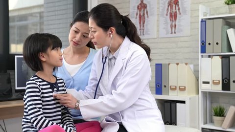 Beautiful young mother and her little daughter at the pediatrician. Doctor is examining little patient using a stethoscope to check lung and heart and kid deep breath.
