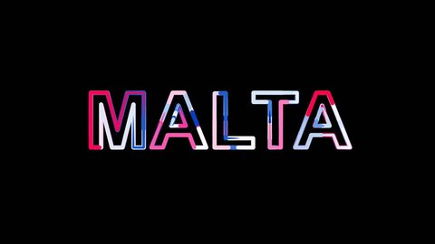 Letters are collected in country name MALTA, then scattered into strips. Bright colors. Alpha channel Premultiplied - Matted with color black