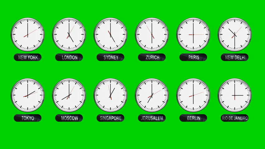 Accurate Different Time Zones Clocks on a Green Screen | Shutterstock HD Video #34989478