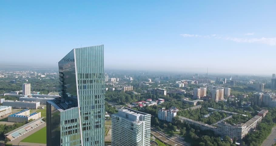 Almaty - MAY 2017: Aerial summer shot of the Ritz-Carlton building
