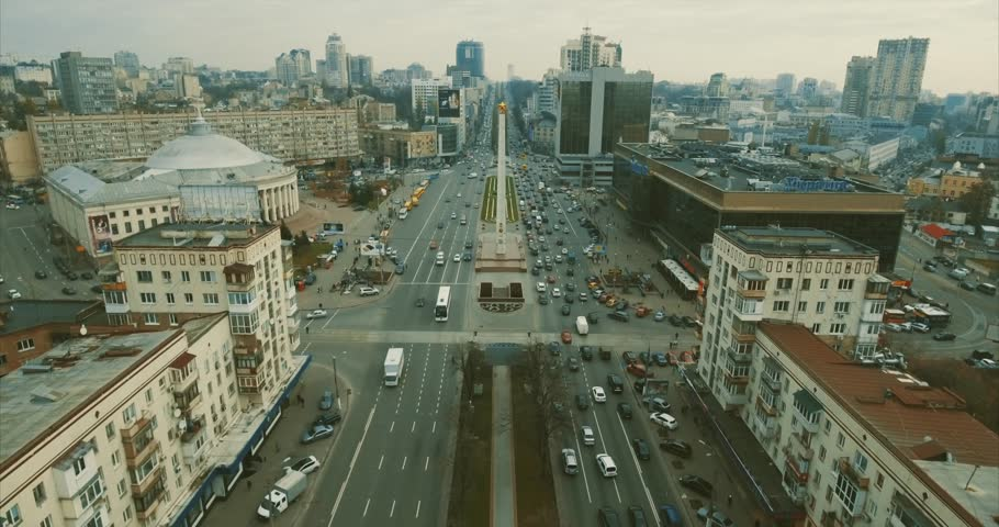 Aerial survey. High traffic on the streets of the big city of Kiev, Ukraine. 10. SEPTEMBER 2017. during the hour of peak traffic. Aerial view over crossed roads and grade-crossing elimination structur