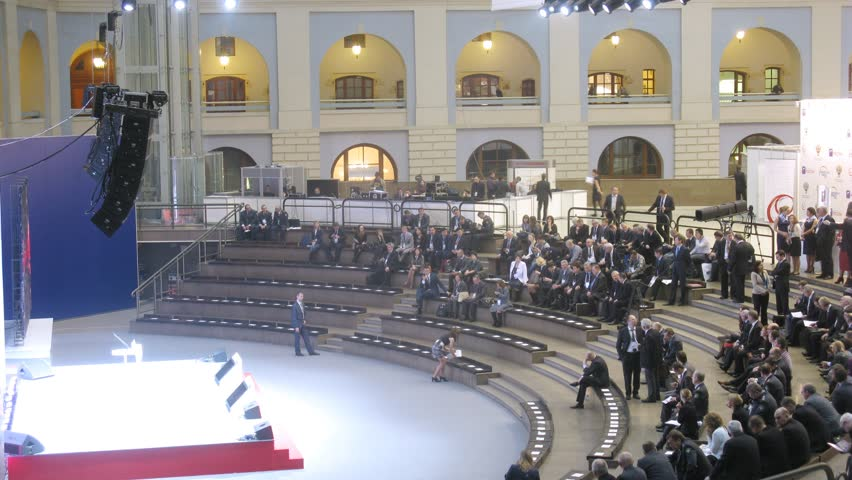 MOSCOW - DEC 6: (Timelapse) People taking places at Transport Forum at Merchant Court, on Dec 6, 2012 in Moscow, Russia. Merchant Court formerly accommodated both shops and warehouses