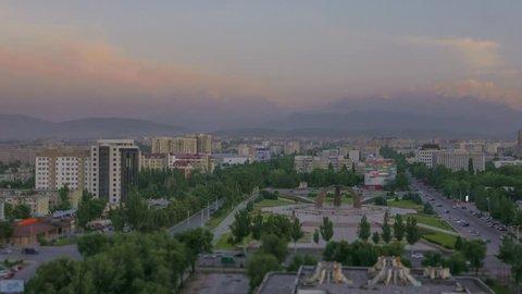 Kyrgyzstan Bishkek city sunset time lapse