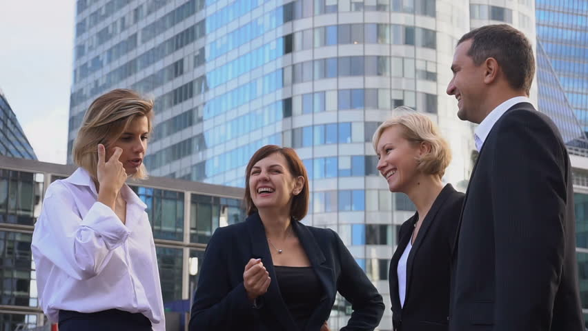 Financial team employees speaking with boss in La Defense Paris. Concept of decision making and business meeting. Responsible people planning work outside. | Shutterstock HD Video #35067016
