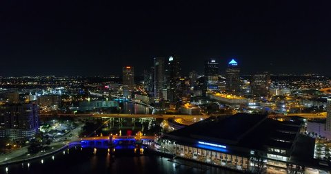 TAMPA, FL, USA - JANUARY 14, 2018: Night at Downtown Tampa aerial drone night video 4k