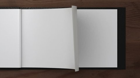 opening notepad with turning pages, 3d animation