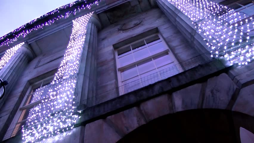 Christmas Lights on Civic Building -  Shire Hall, Market Square, Staffordshire, England