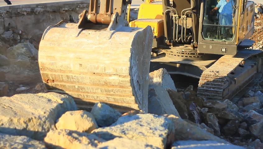 Dredging bucket excavator Footage   Stock Clips