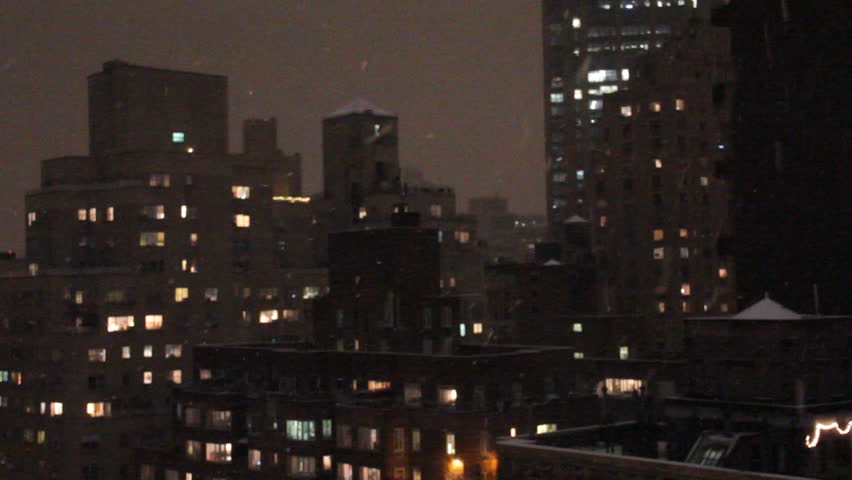 Apartment Buildings At Night In Nyc Snow Storm Stock Footage Video
