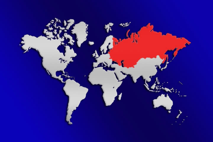 Map of world for news stylized world map world political map russia blinking red world map over blue background showing russia blinking in red sd gumiabroncs Images