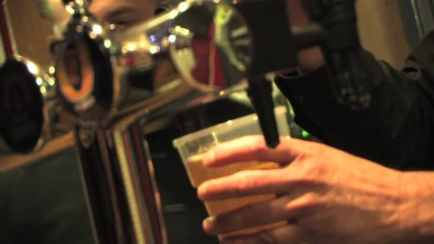 Barman Pouring Pint of Beer / Lager - Close Up, Nightlife, Alcohol