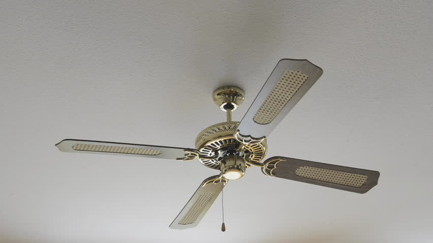 Stock video clip of ceiling fan spinning slowly and gradually coming hd0017electric fan on ceiling switching on mozeypictures Images