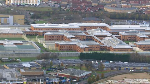 Wide aerial shot of HM Prison Holloway and the surrounding area. Holloway is a women's prison complex in the Islington district of North London, England.