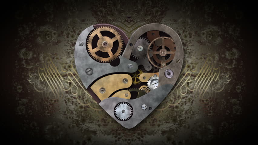 Mechanical heart made of cogs and wheels. Swirling particles are entering Into the heart, reviving it and generating heartbeat. Includes alpha matte for easy background replacement.