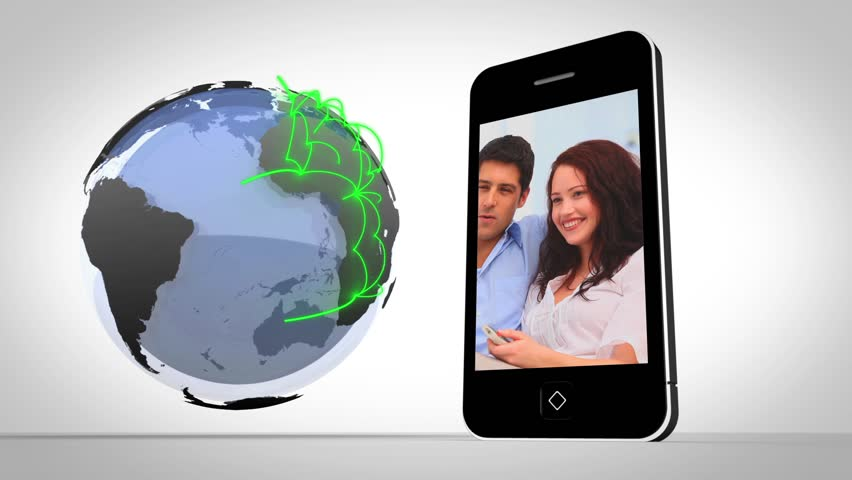 Video of couples presented on smartphone beside globe showing connections on white background