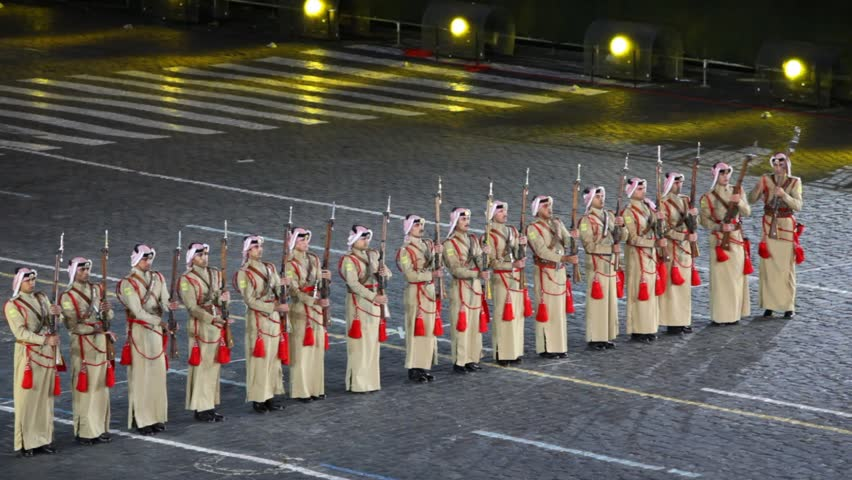 MOSCOW - SEP 4: Row of soldiers with rifle of Armed Forces of Jordan at Military Music Festival Spasskaya Tower, on Sep 4, 2011 in Moscow, Russia.