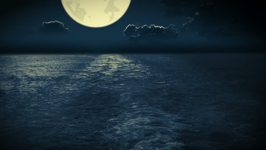 Night. Unrealistically large moon. The view from the stern of