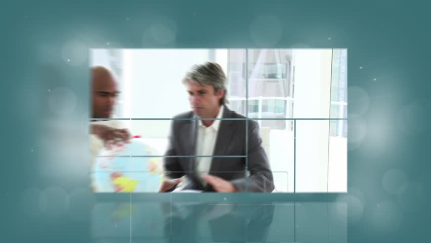 Animation of various screens showing people at work with blue background | Shutterstock HD Video #3627446