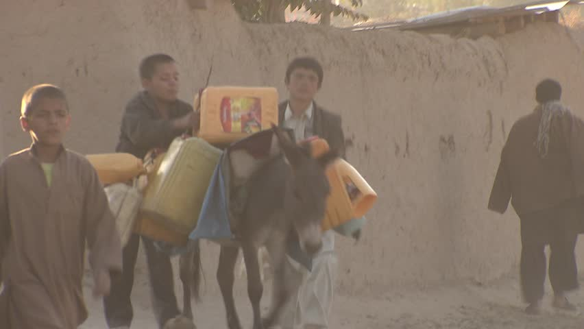 Faizabad, Afghanistan - November 7, 2010:  Boys with donkeys coming from river where they got drinking water for their families.