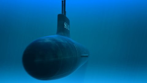 3d animation of swimming submarine. A deep-diving submarine used to explore the ocean is called a submersible. Submersibles are usually smaller than submarines