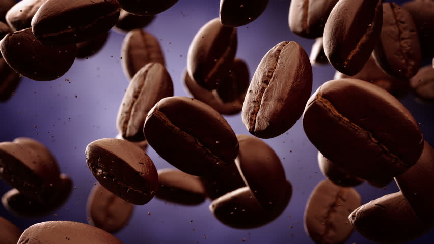 Roasted coffee beans with coffee dust falling down in front of dark background. Slow motion CG animation. #3633446
