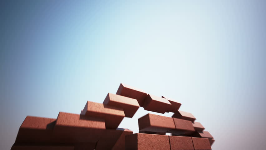 CG animation of high brick wall building up.
