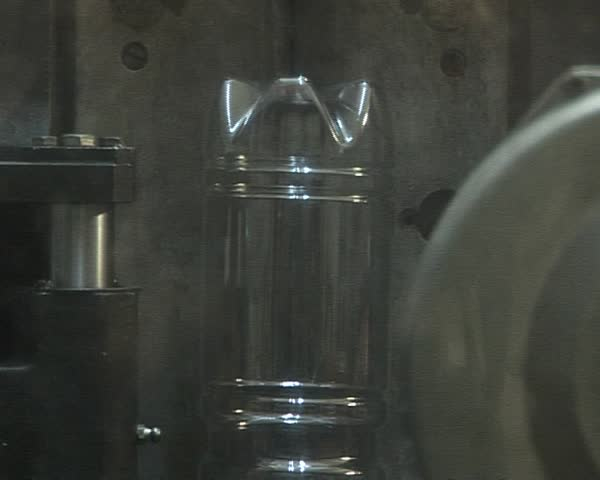 Transparent PET bottles production line. Special plastic recycling equipment.