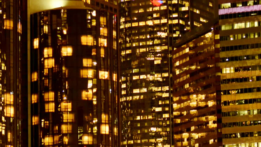 Time Lapse Close up of Buildings in Downtown Los Angeles at Night | Shutterstock HD Video #3648416
