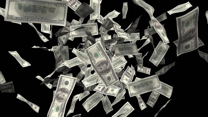 Hundred dollar bills burst of money. Made with 100 dollar bills, includes alpha matte.