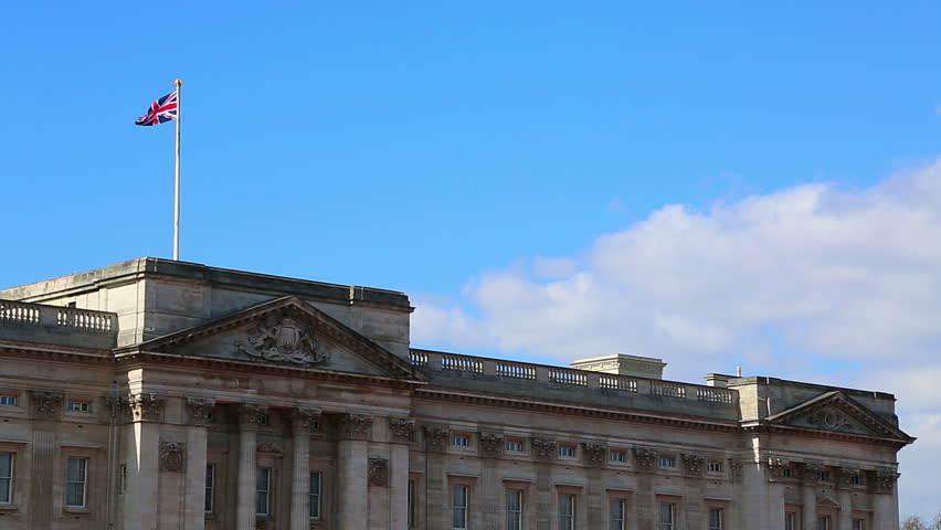Buckingham Palace cu with Union Jack flag