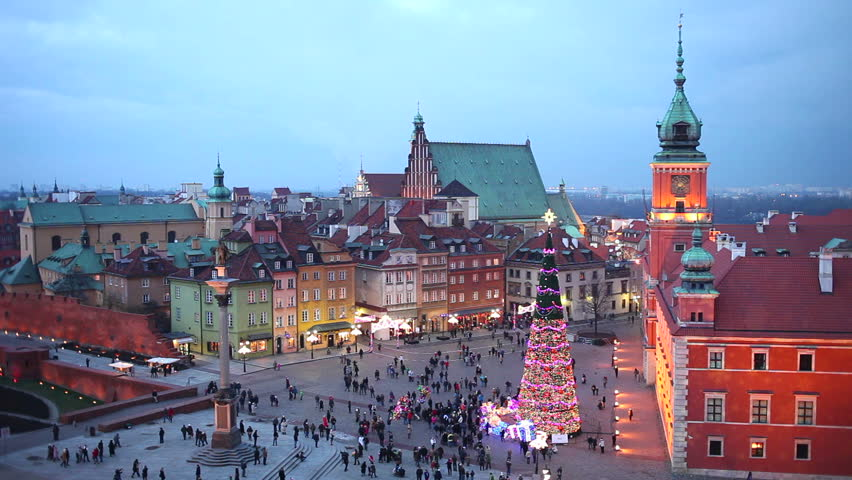 Old Town of Warsaw in Poland illuminated at evening, during Christmas time.