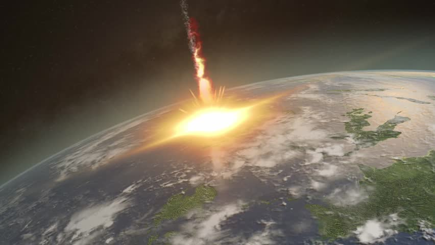 Asteroid hitting Earth exploding and dislocating clouds in a massive shock wave