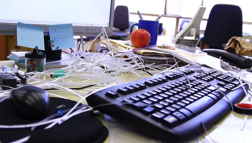 Messy Office Desk Stock Footage Video Shutterstock