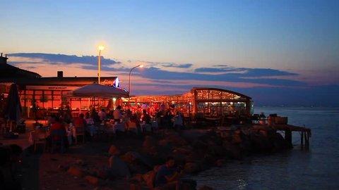 Fish food restaurants at Buyukada in Istanbul, Turkey. Dinner time at Prince Islands