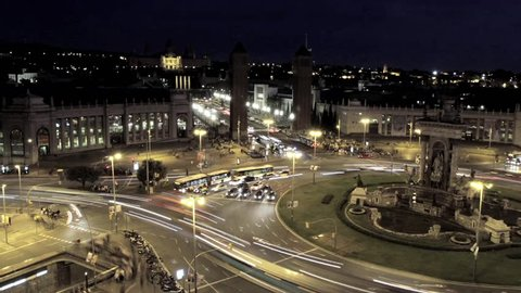 Timelapse View of Plaza De Espana at night in Barcelona