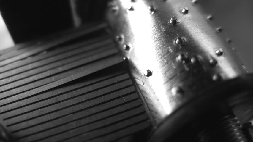 Little music box plays a Christmas melody. Close-up. Black and white. Sound