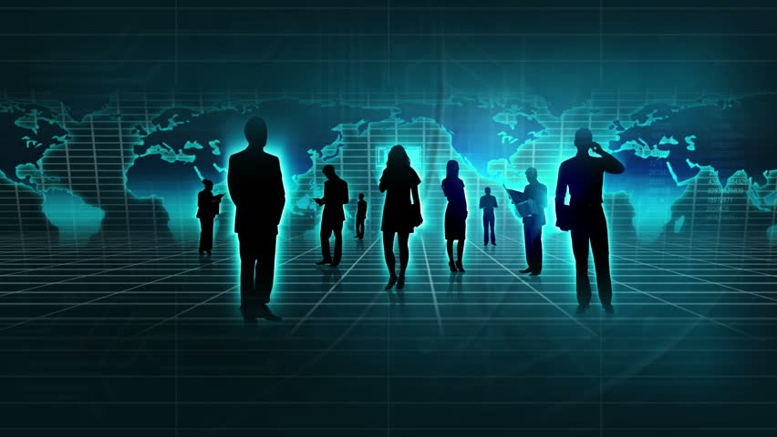Hd0016Montage 3D Professional Business People In Silhouette Communicating Worldwide Using Modern Wireless Technology
