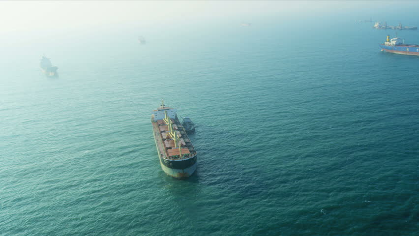 Aerial view Commercial tankers nr Hong Kong, South China Sea, Hong Kong, RED EPIC