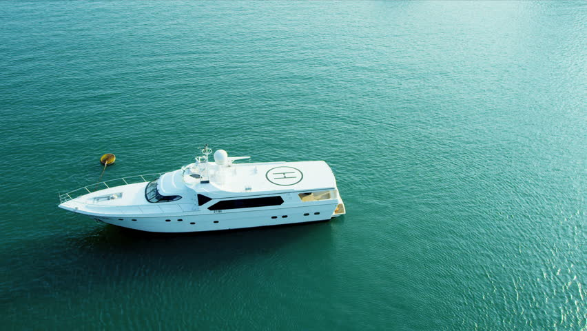 Aerial view of cruiser heliport after take off, Tai Tam Bay,