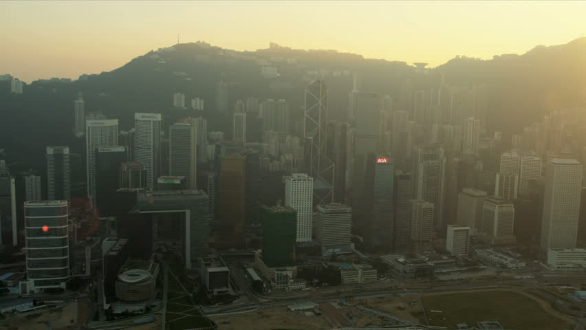 Aerial sunset view of 2 IFC Victoria Peak and harbour, Hong Kong Island, Asia, RED EPIC | Shutterstock HD Video #3744770