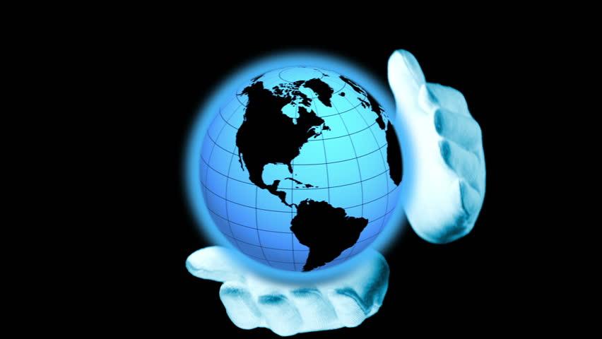 African American Businessman Spins Virtual Globe Stock Footage ...