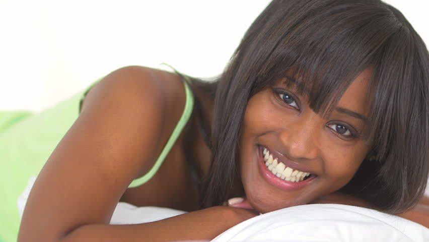 Happy African woman smiling