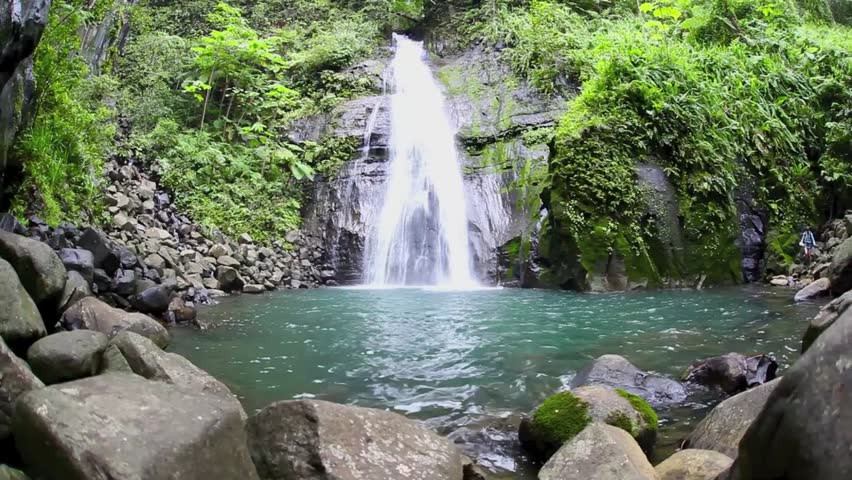 A gorgeous waterfall drops into a natural pool on Cocos Island, Costa Rica.