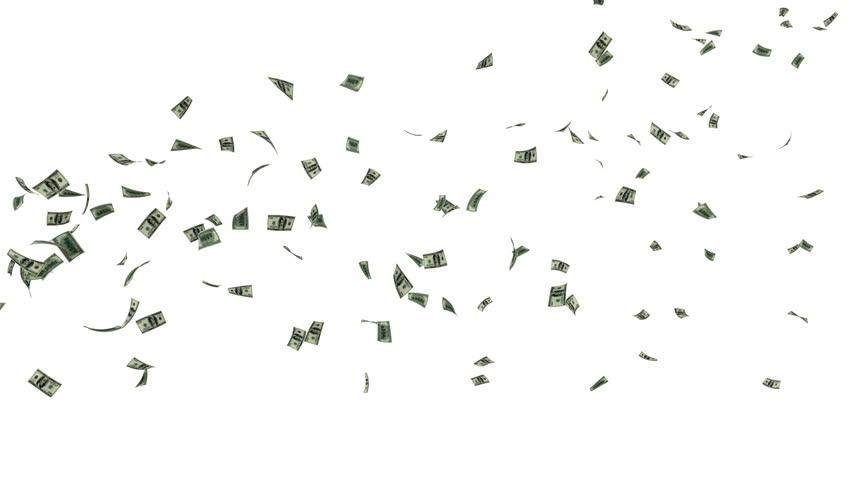 US Dollars Flying, against white #3768716