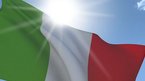 Flag of Italy Waving on the Wind with the sun behind. Seamless Loop.