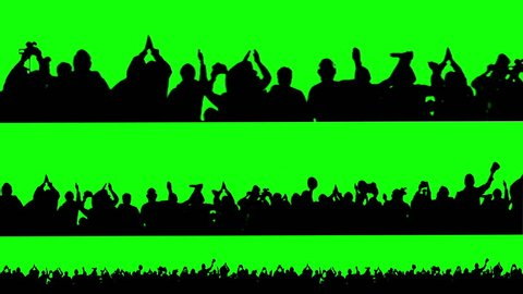 Crowd of people. Green screen.
